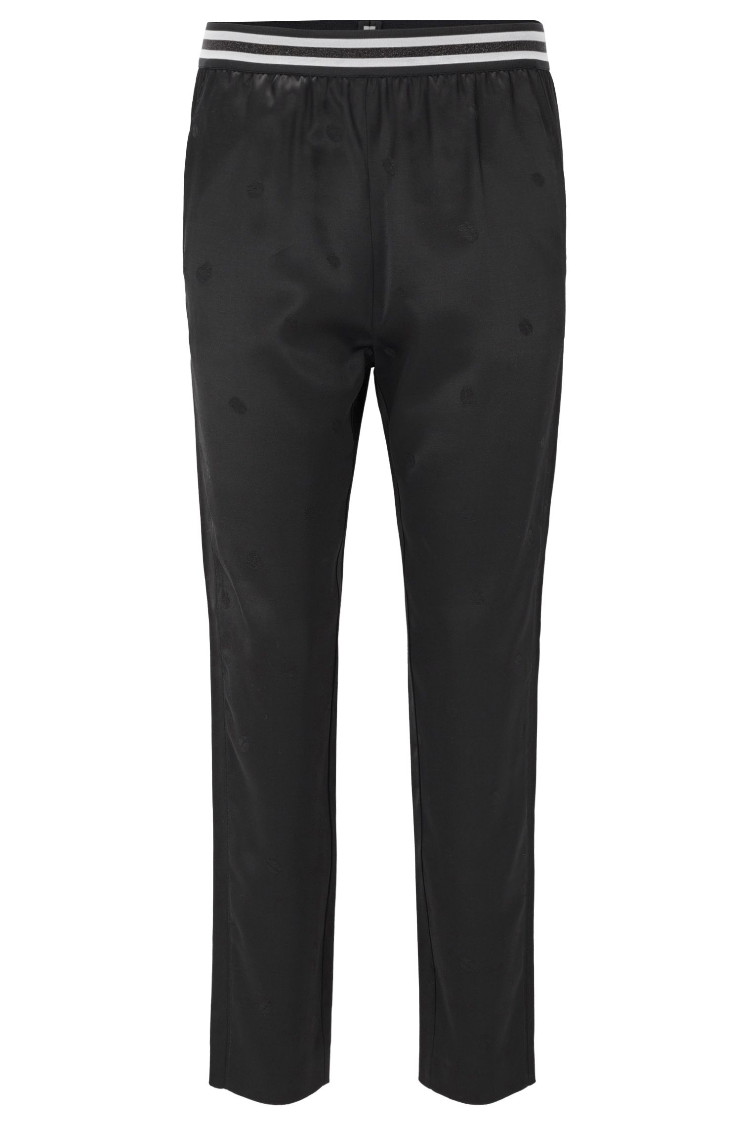 Pantalon Regular Fit en satin à motif jacquard