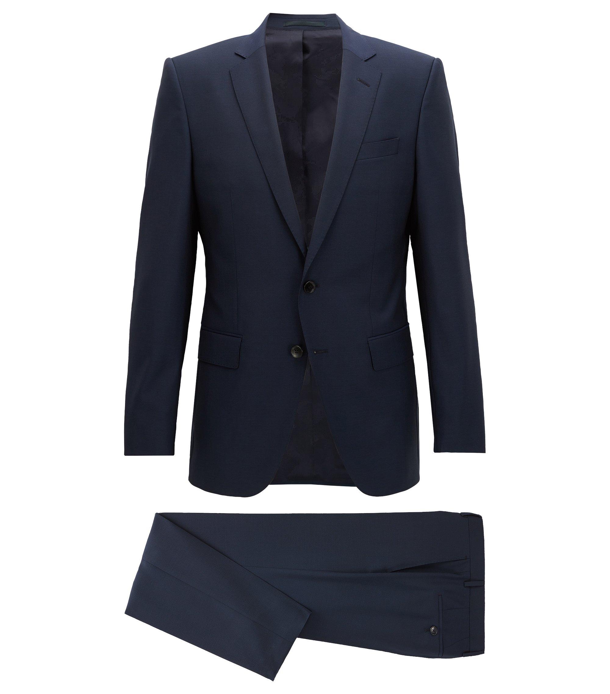 Costume Slim Fit en laine vierge, Bleu foncé
