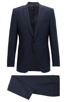 Slim-fit virgin wool suit, Dark Blue