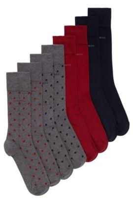 Cadeauset van vier paar sokken met normale lengte, van een katoenmix met stretch, Donkerblauw