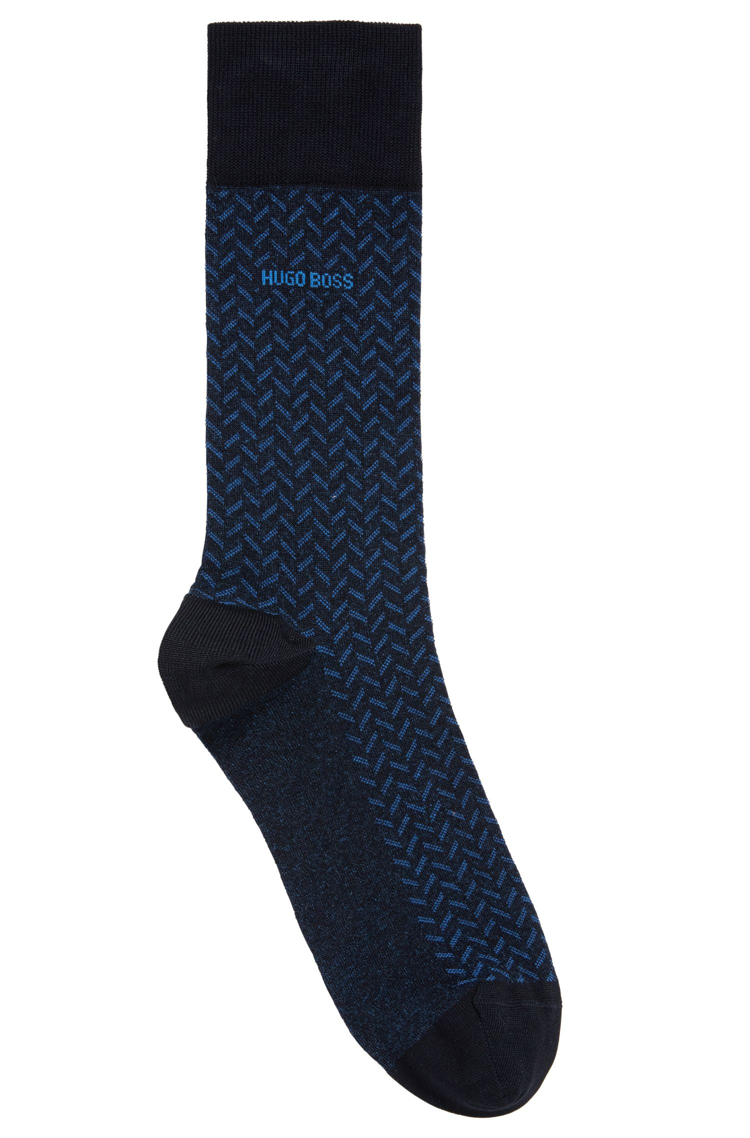 Calcetines en algodón elástico mercerizado con estampado de espiga