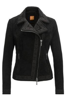 Regular-fit embroidered bonded-suede biker jacket, Black
