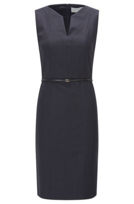 Regular-fit shift dress in stretch virgin wool, Patterned