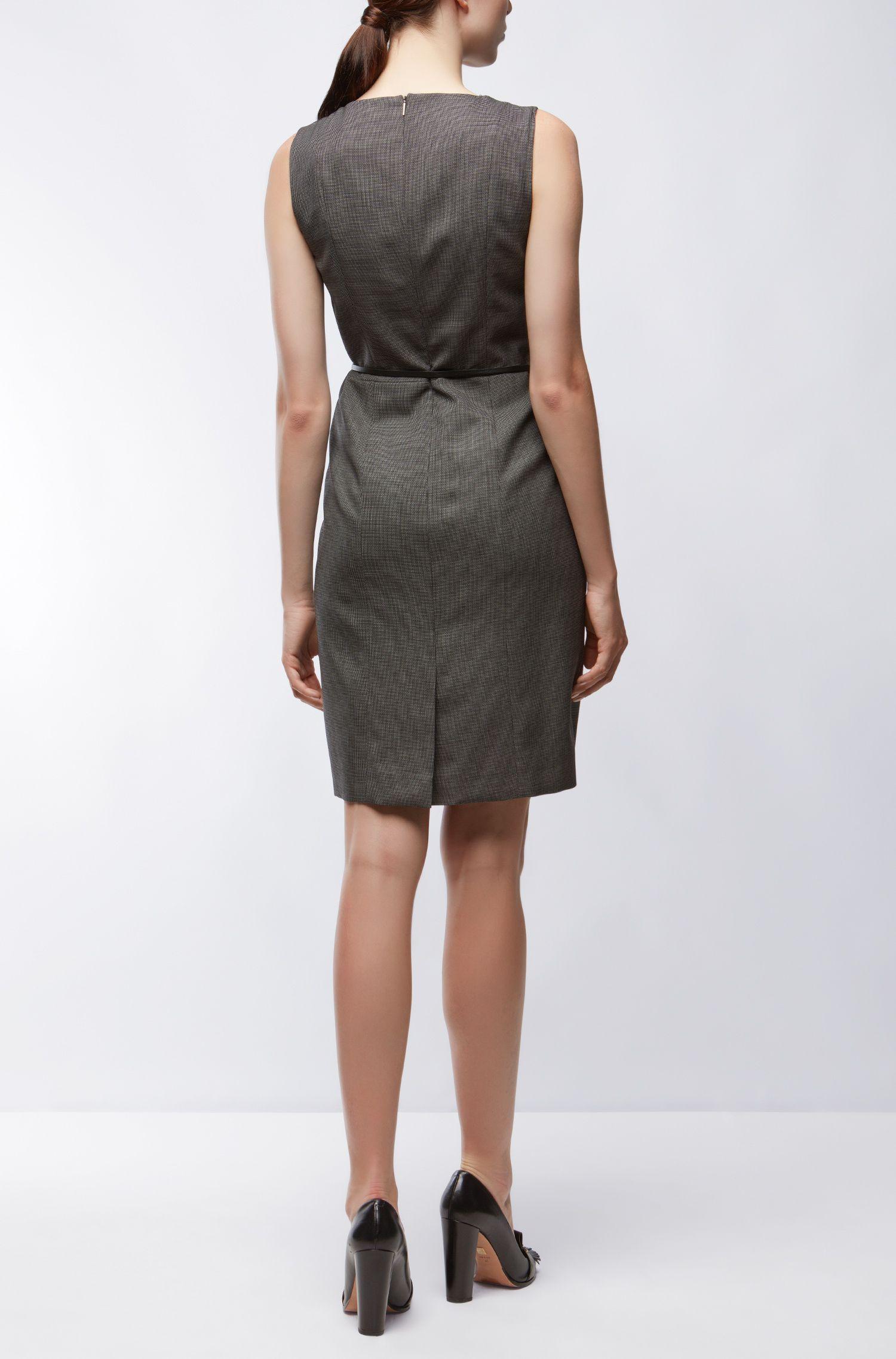 Vestido recto regular fit en lana virgen elástica, Gris oscuro