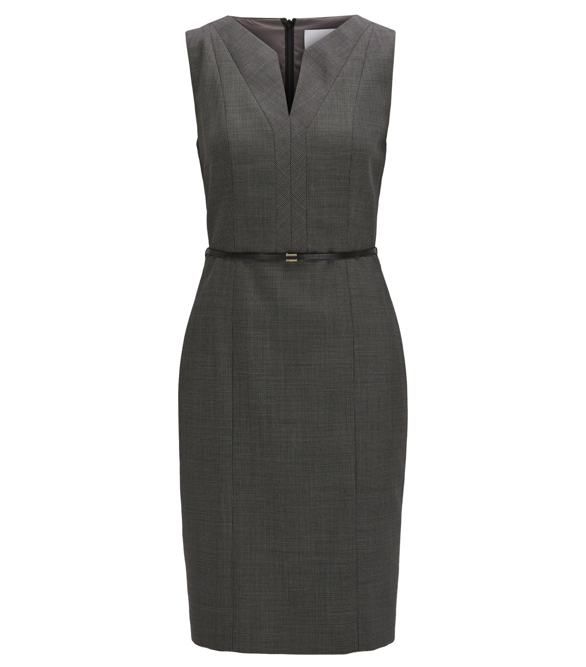 Regular-fit shift dress in stretch virgin wool, Dark Grey