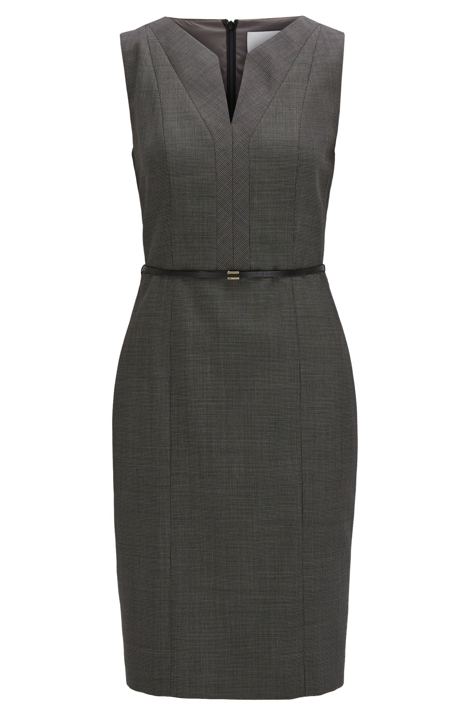 Regular-fit shift dress in stretch virgin wool