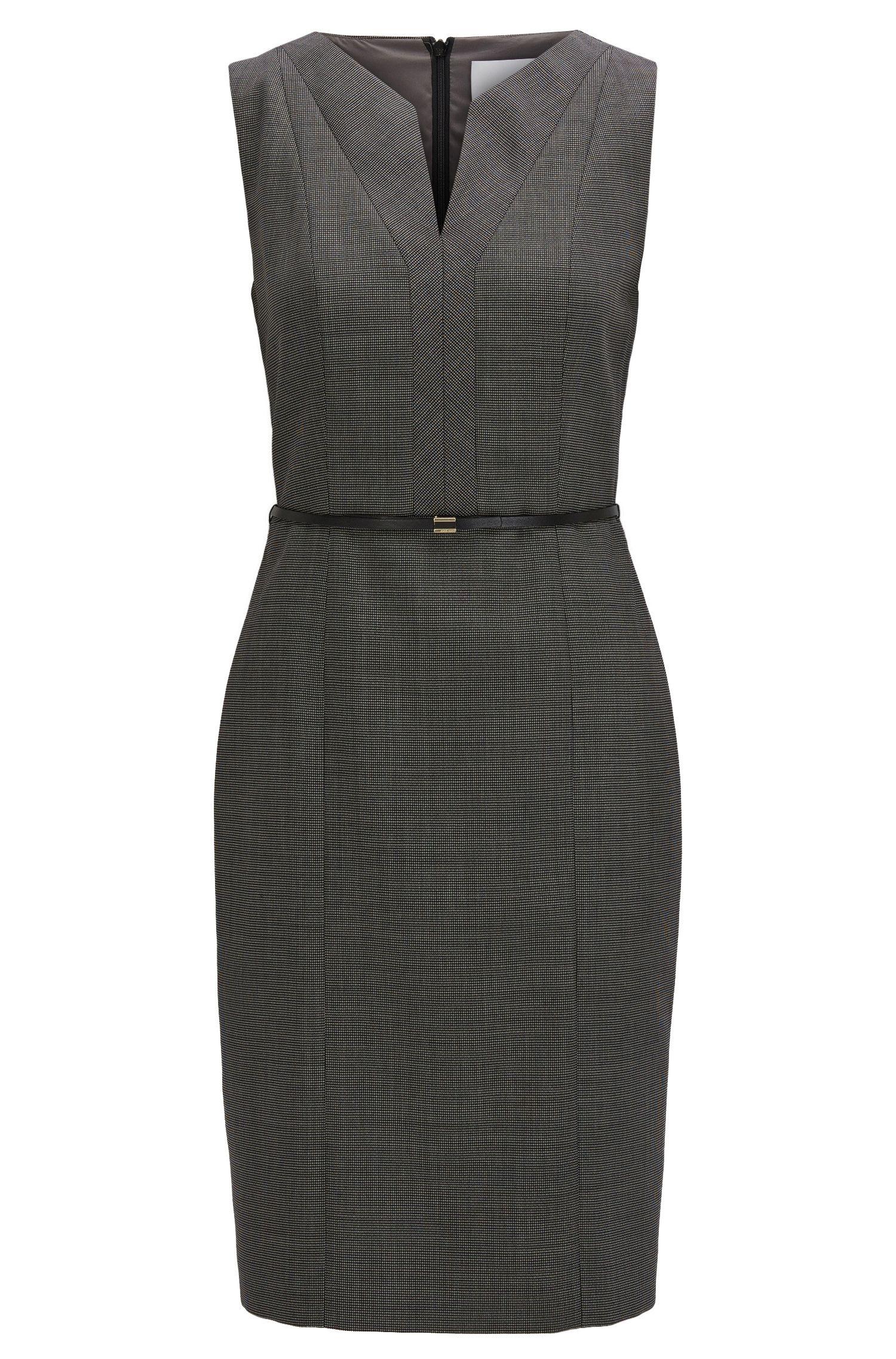 Regular-fit shift dress in stretch virgin wool