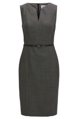 Regular-fit shift dress in stretch virgin wool, Patterned