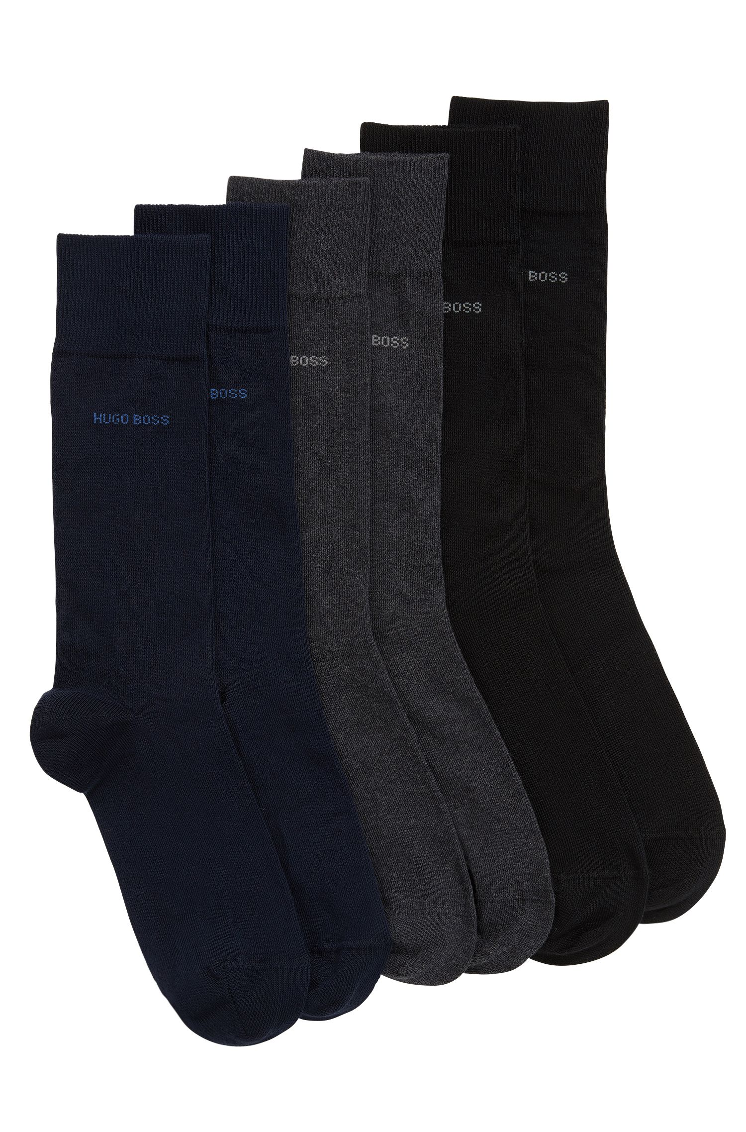 Three-pack of cotton-blend socks