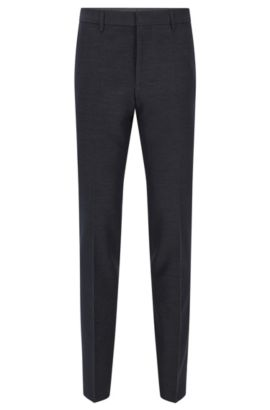 Slim-fit trousers in cotton blend, Dark Blue
