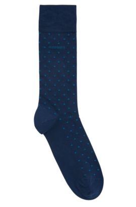 Chaussettes mi-mollet en coton mélangé, Bleu foncé