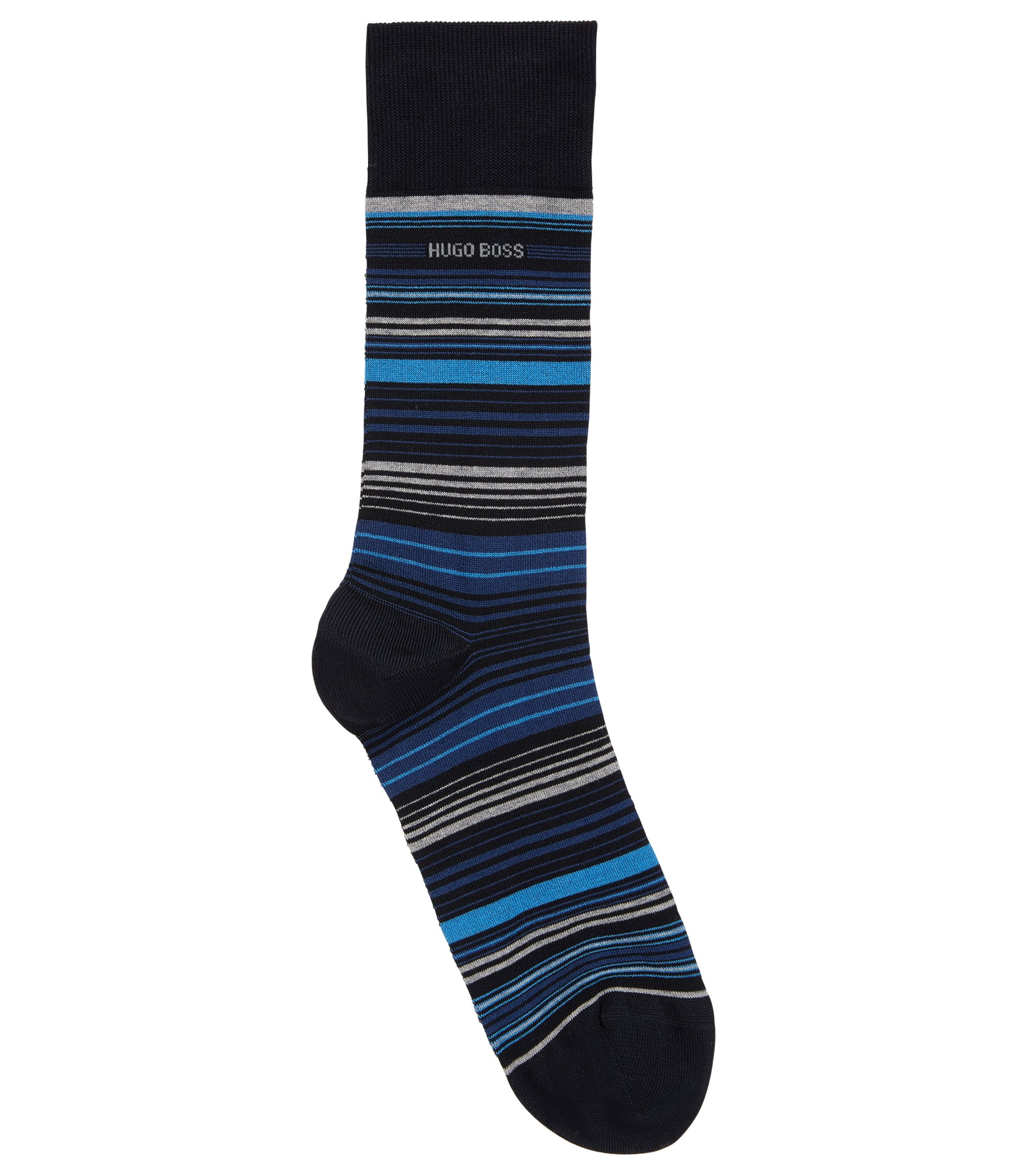 Regular-length socks in a mercerised cotton blend, Dark Blue
