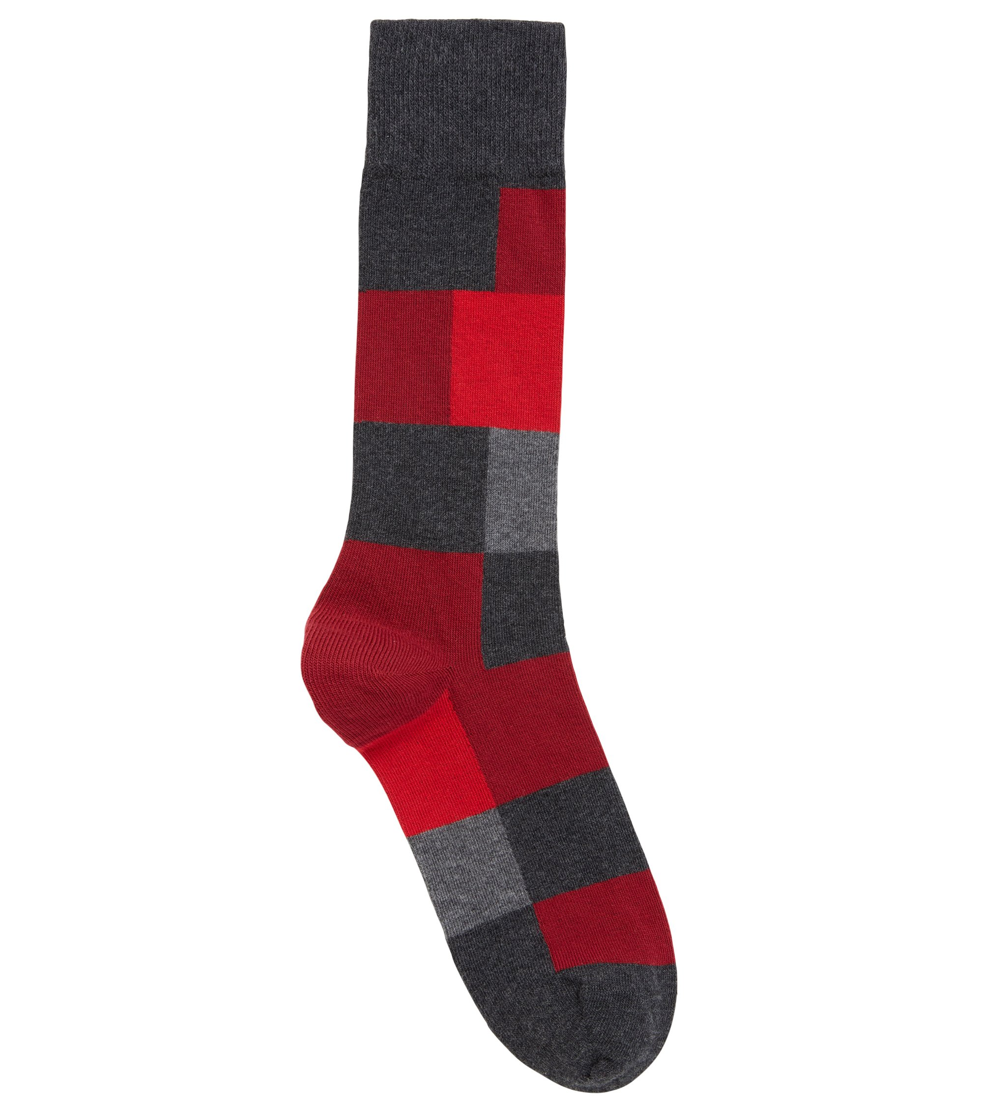 Modern checked socks in a combed-cotton blend, Anthracite