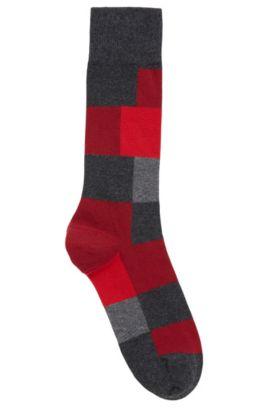 Modern geruite sokken van een gekamde katoenmix, Antraciet