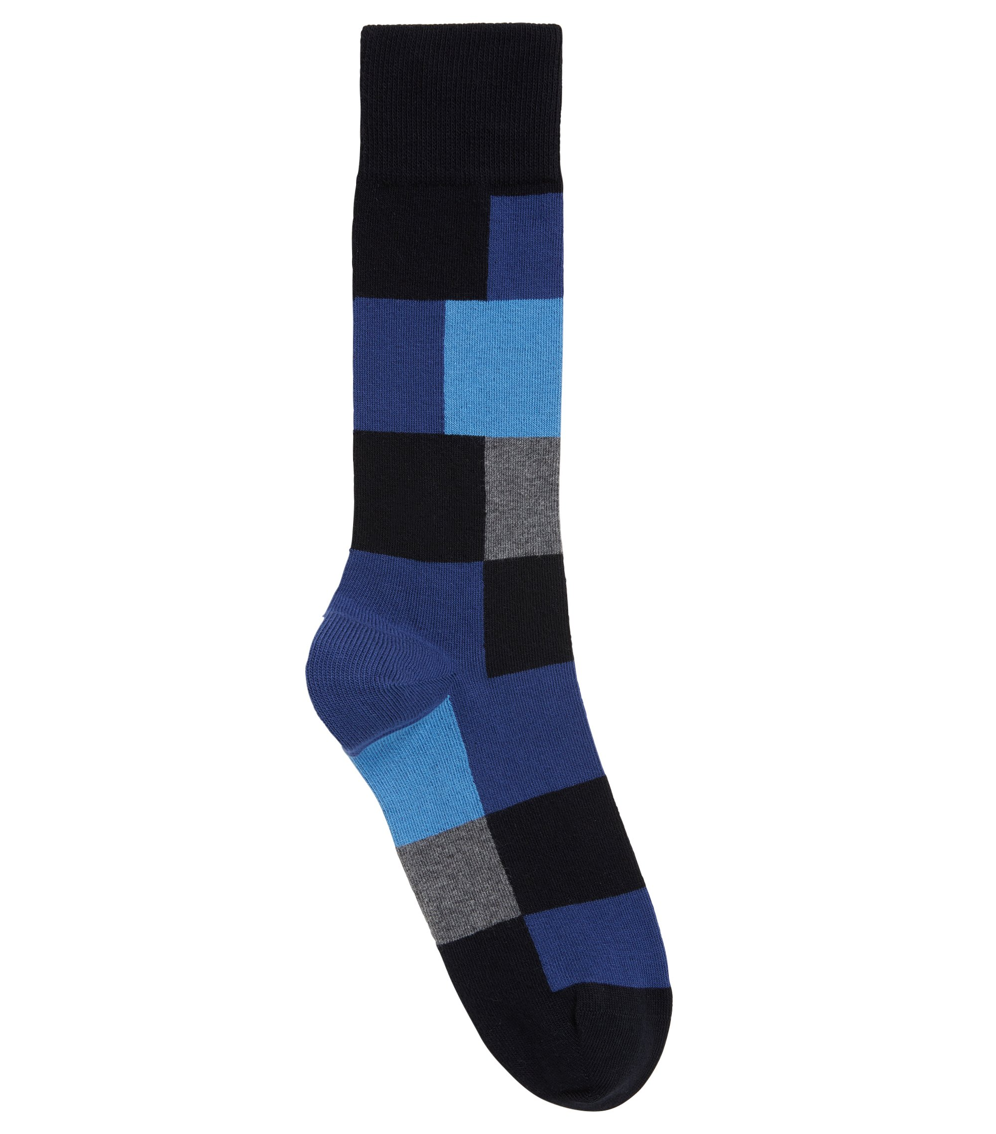 Modern checked socks in a combed-cotton blend, Dark Blue