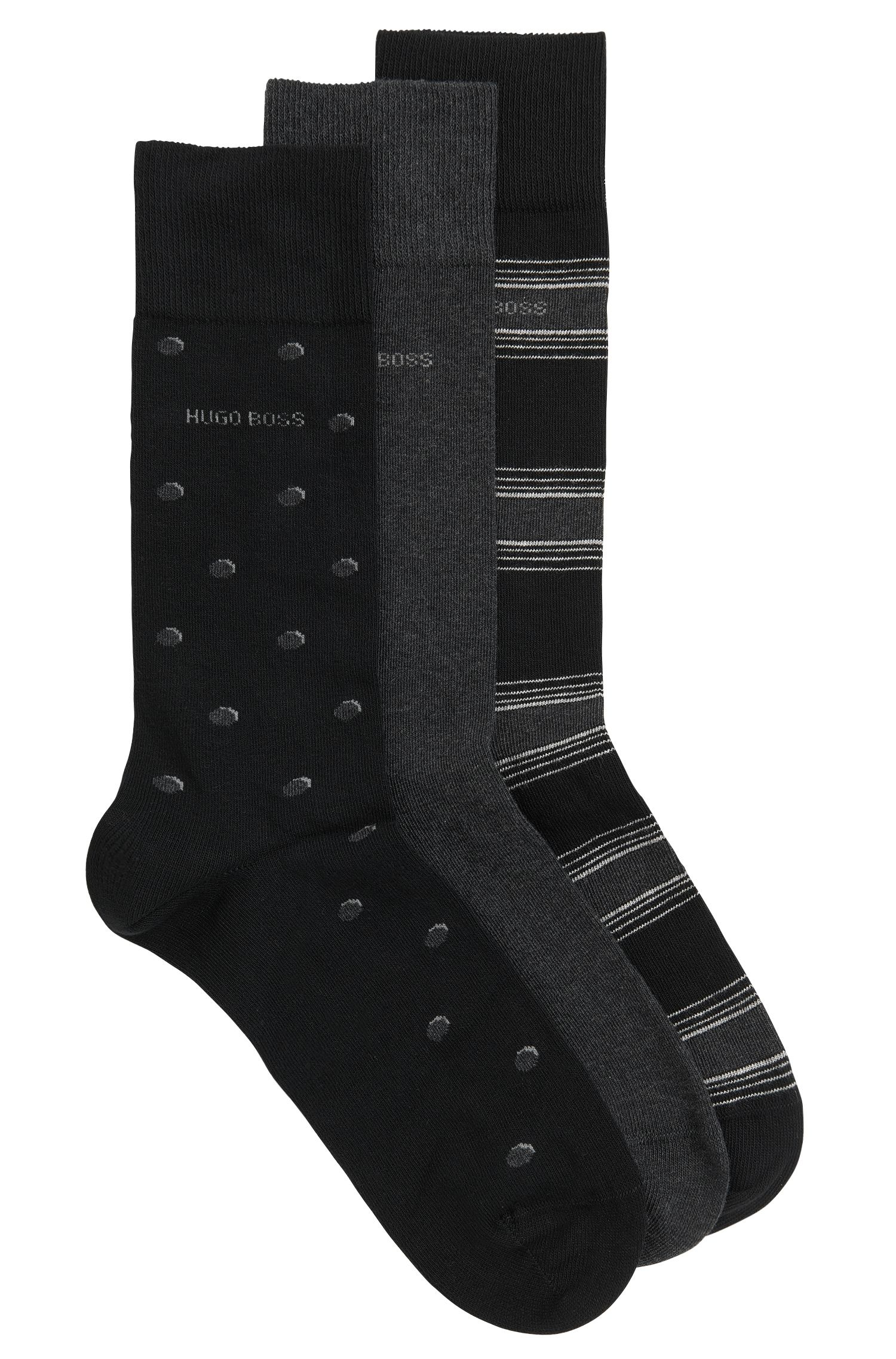 Three-pack of cotton-blend regular-length socks