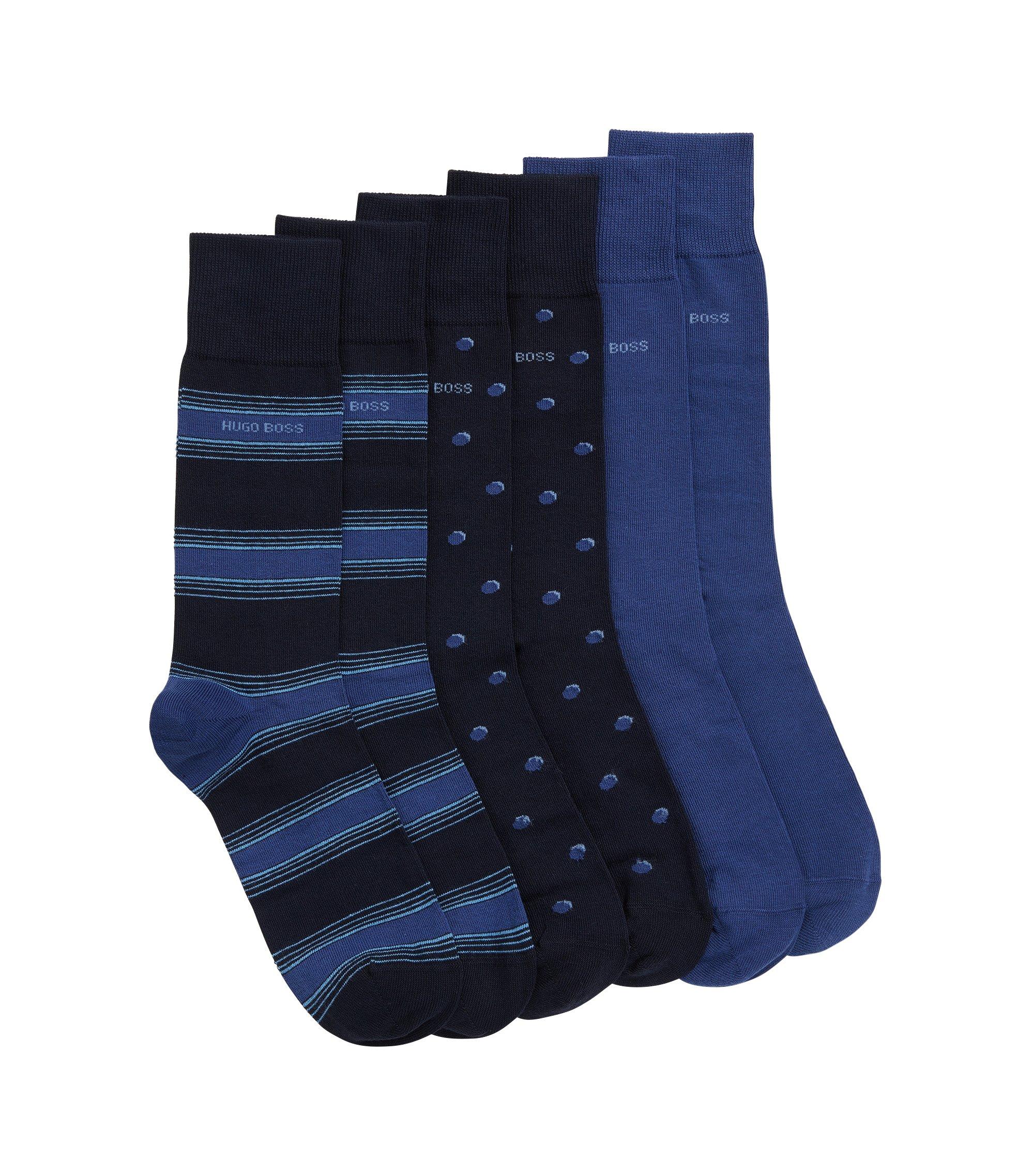 Set van drie paar sokken van een katoenmix met normale lengte, Donkerblauw