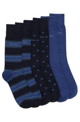 Calze di lunghezza media in misto cotone in confezione da tre, Blu scuro