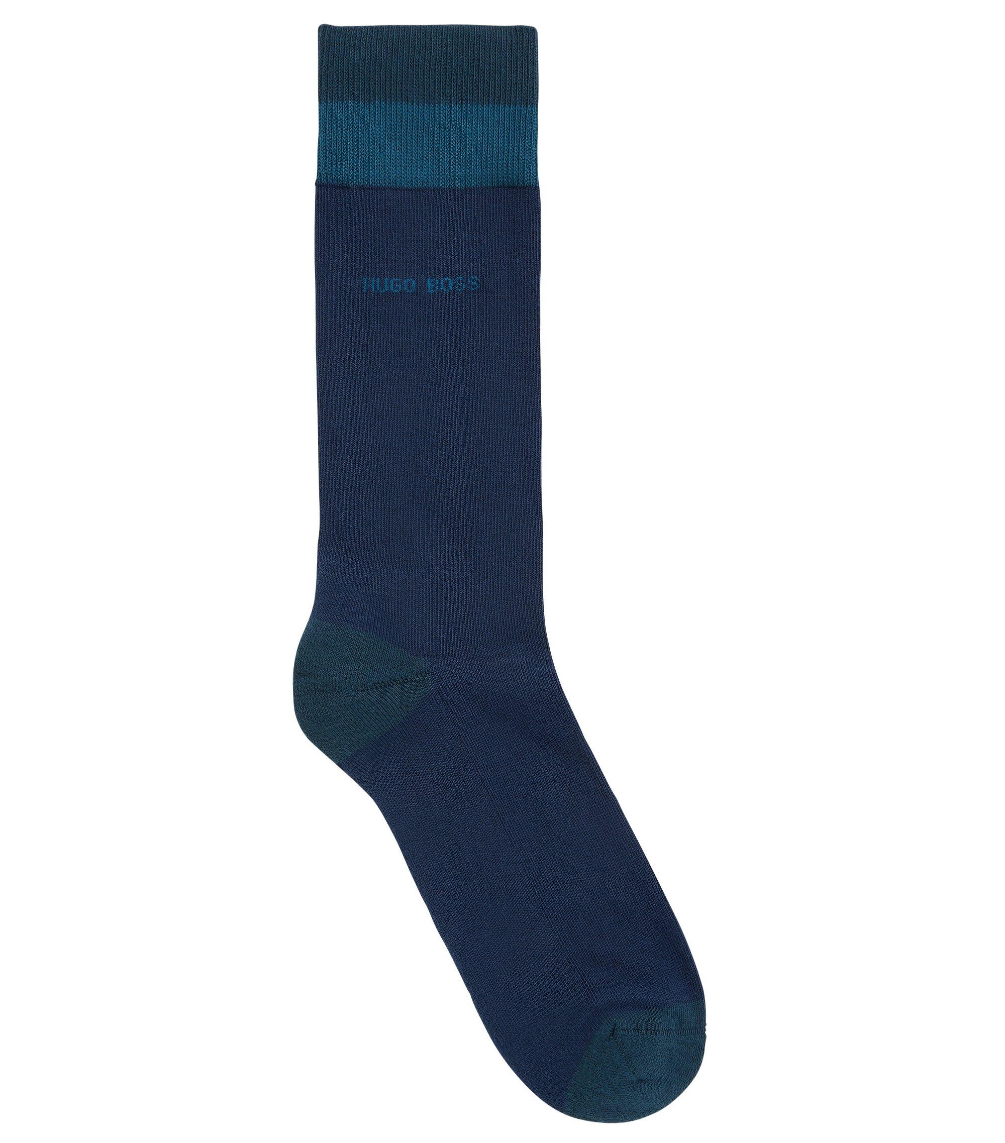 Chaussettes mi-mollet en coton mélangé , Bleu foncé