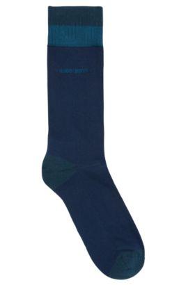 Calcetines de largo normal en mezcla de algodón , Azul oscuro