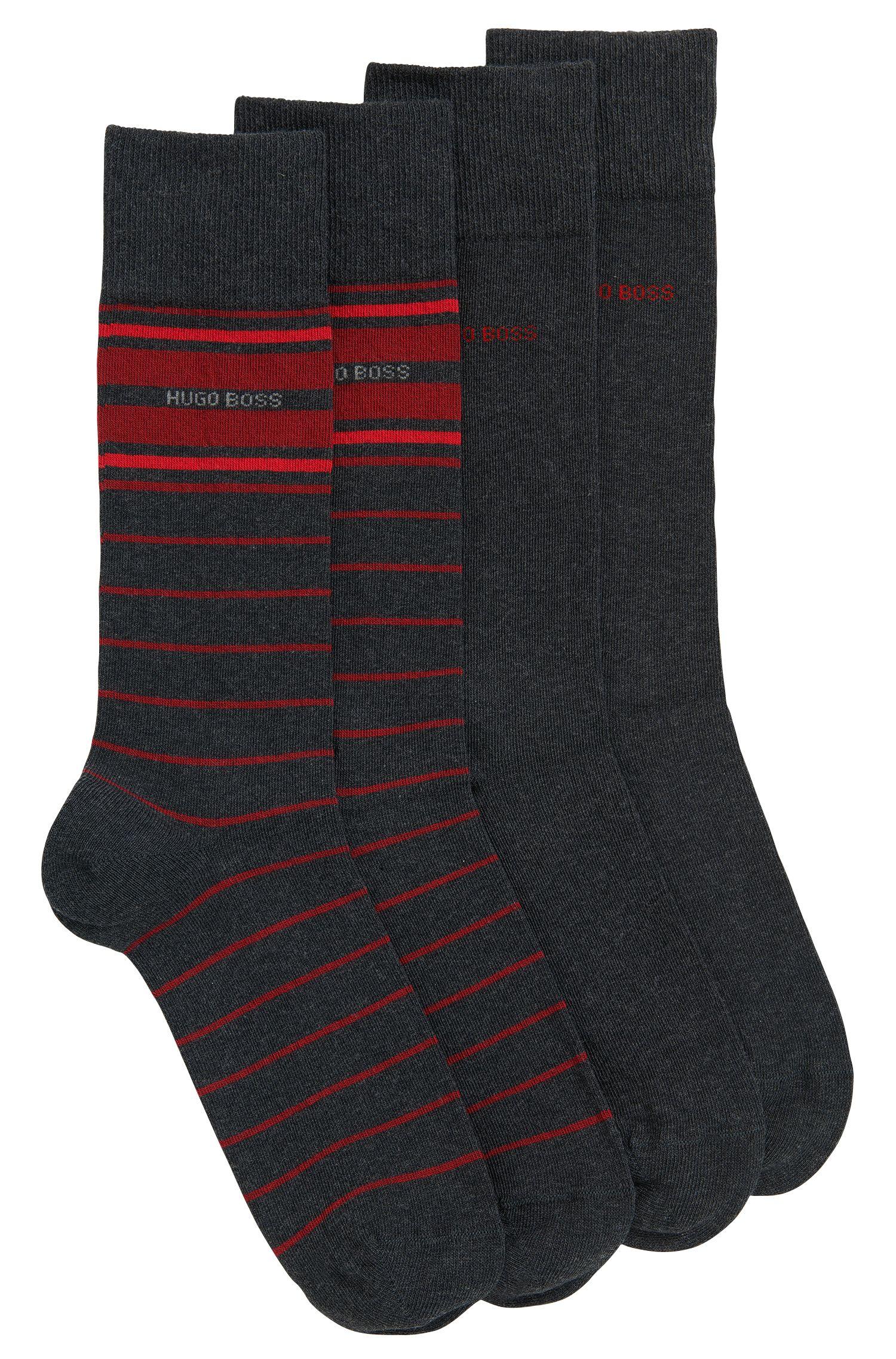 Paquete de dos pares de calcetines ligeros de largo normal en mezcla de algodón elástico