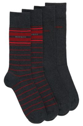 Two-pack of lightweight regular-length socks in a stretch cotton blend, Anthracite