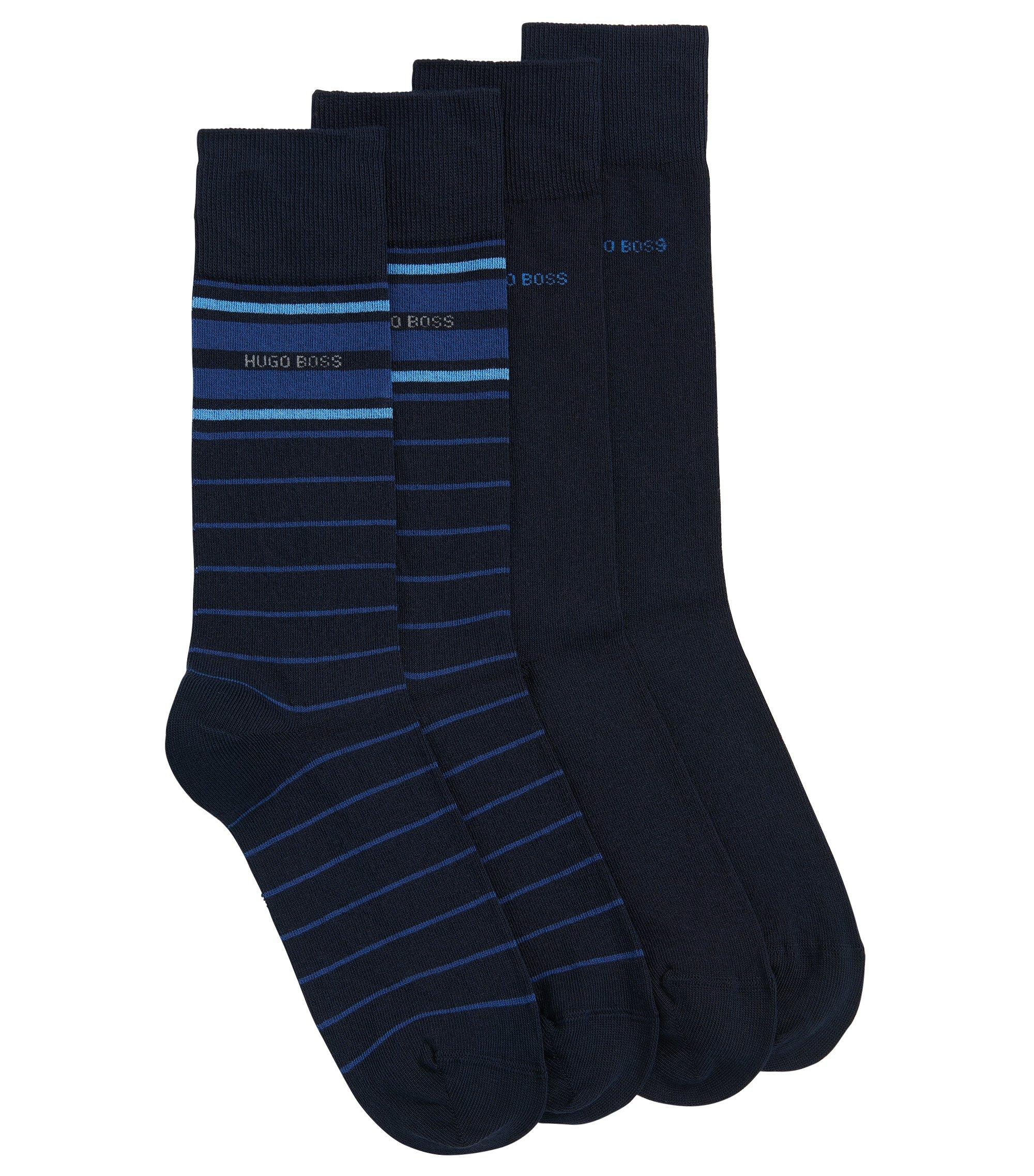 Lot de deux paires de chaussettes mi-hautes légères en coton stretch mélangé, Bleu foncé