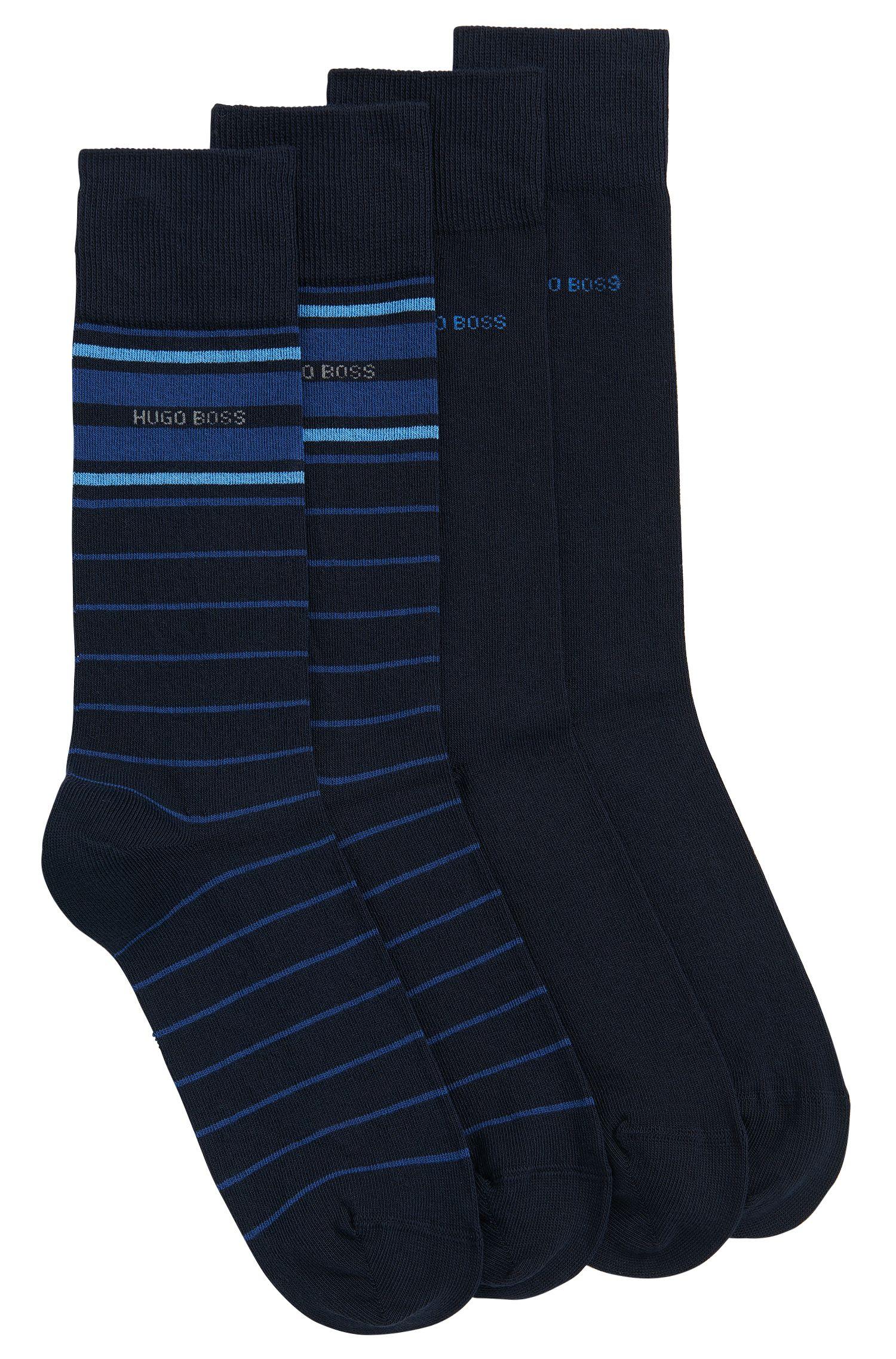 Lot de deux paires de chaussettes mi-hautes légères en coton stretch mélangé
