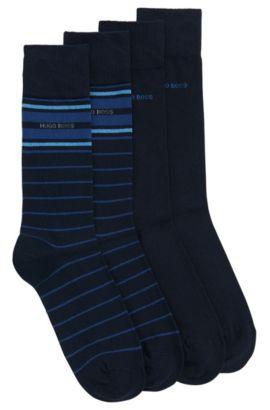 Two-pack of lightweight regular-length socks in a stretch cotton blend, Dark Blue