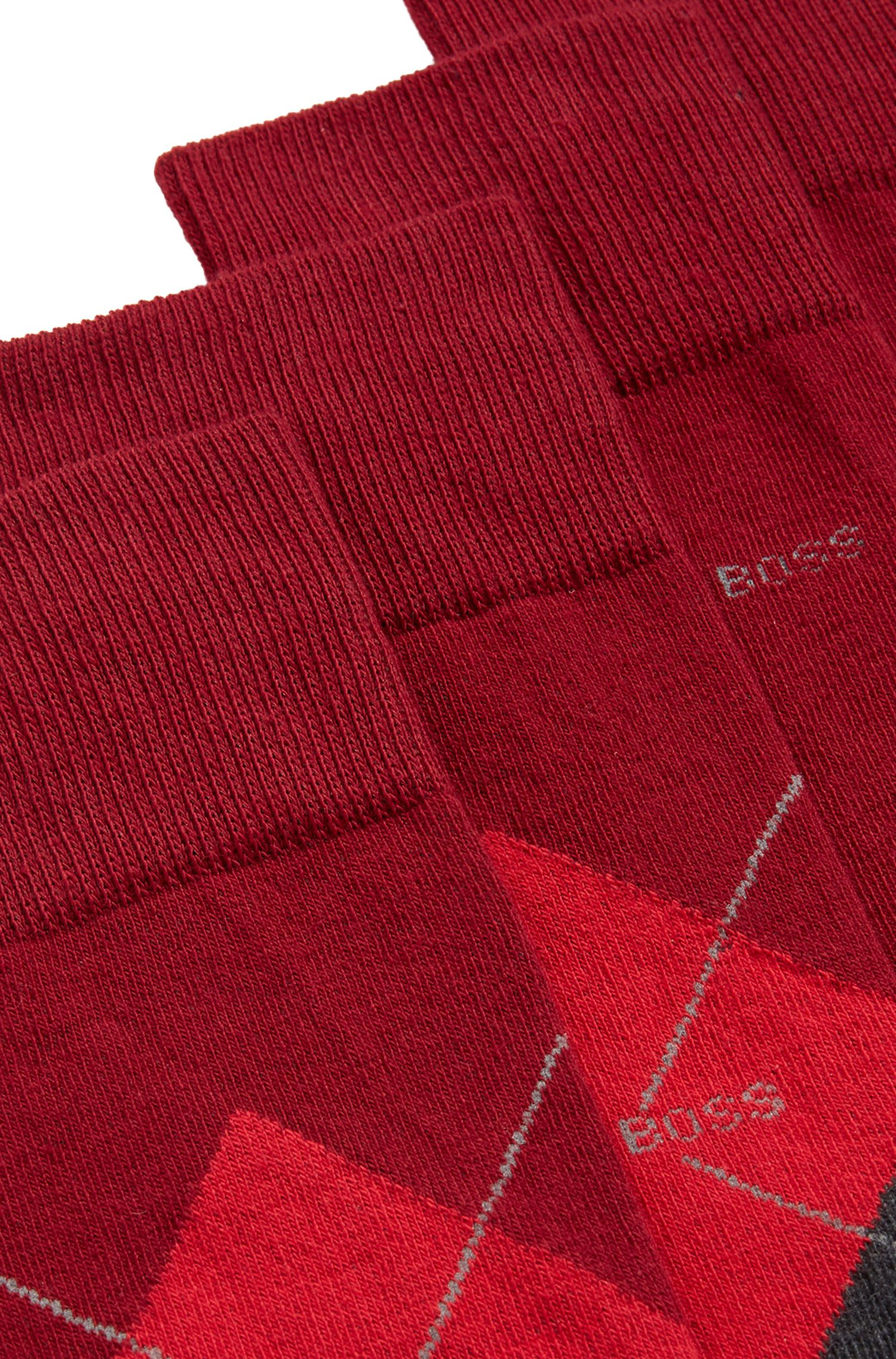 Two-pack of plain and patterned regular-length socks in a combed-cotton blend