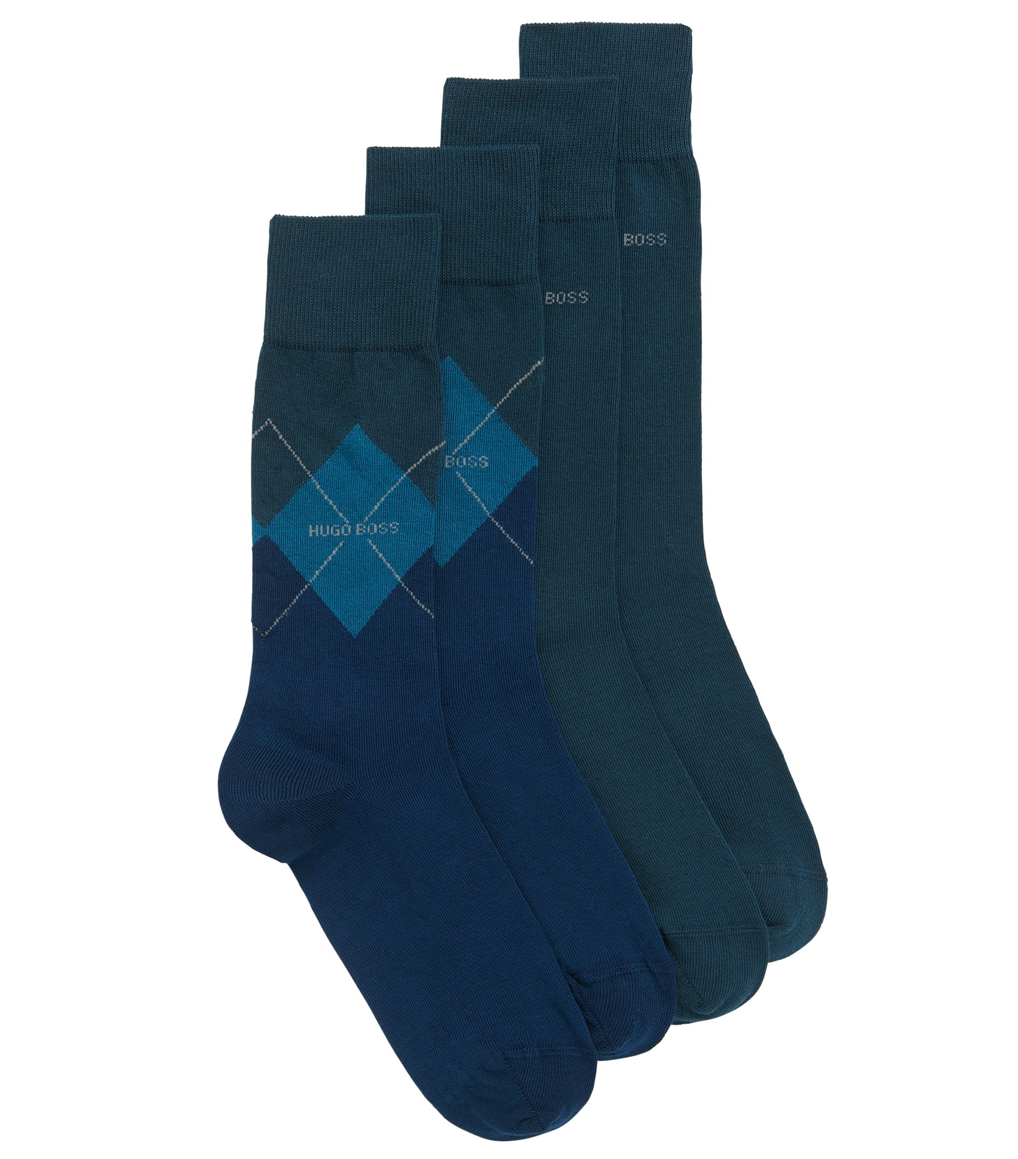 Two-pack of plain and patterned regular-length socks in a combed-cotton blend, Dark Blue