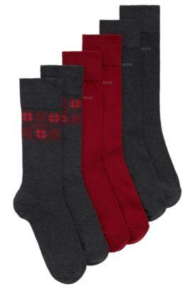 Lot de trois paires de chaussettes mi-mollet, Anthracite