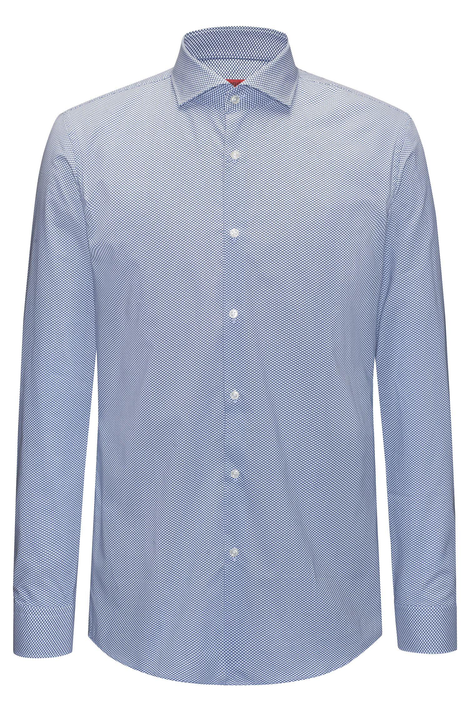 Camicia slim fit in cotone con micro-motivo