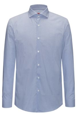 Micro-patterned cotton shirt in a slim fit, Blue