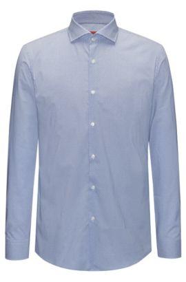 Camicia slim fit in cotone con micro-motivo, Blu
