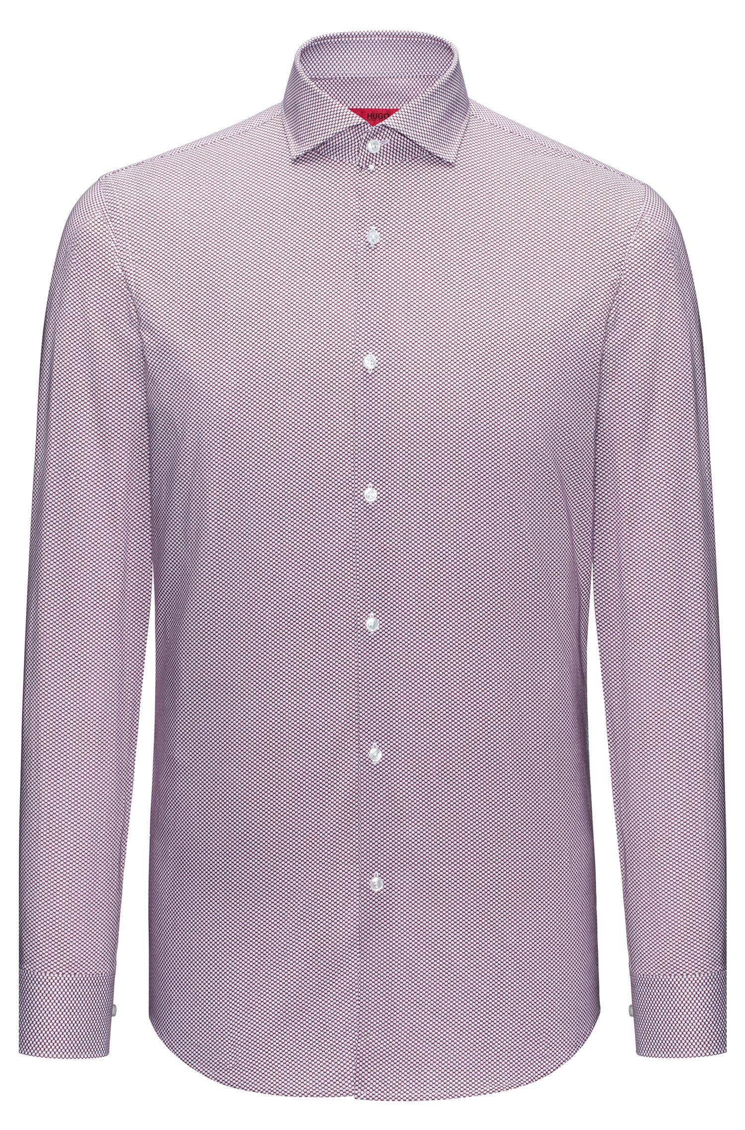 Camisa slim fit en algodón con microestampado