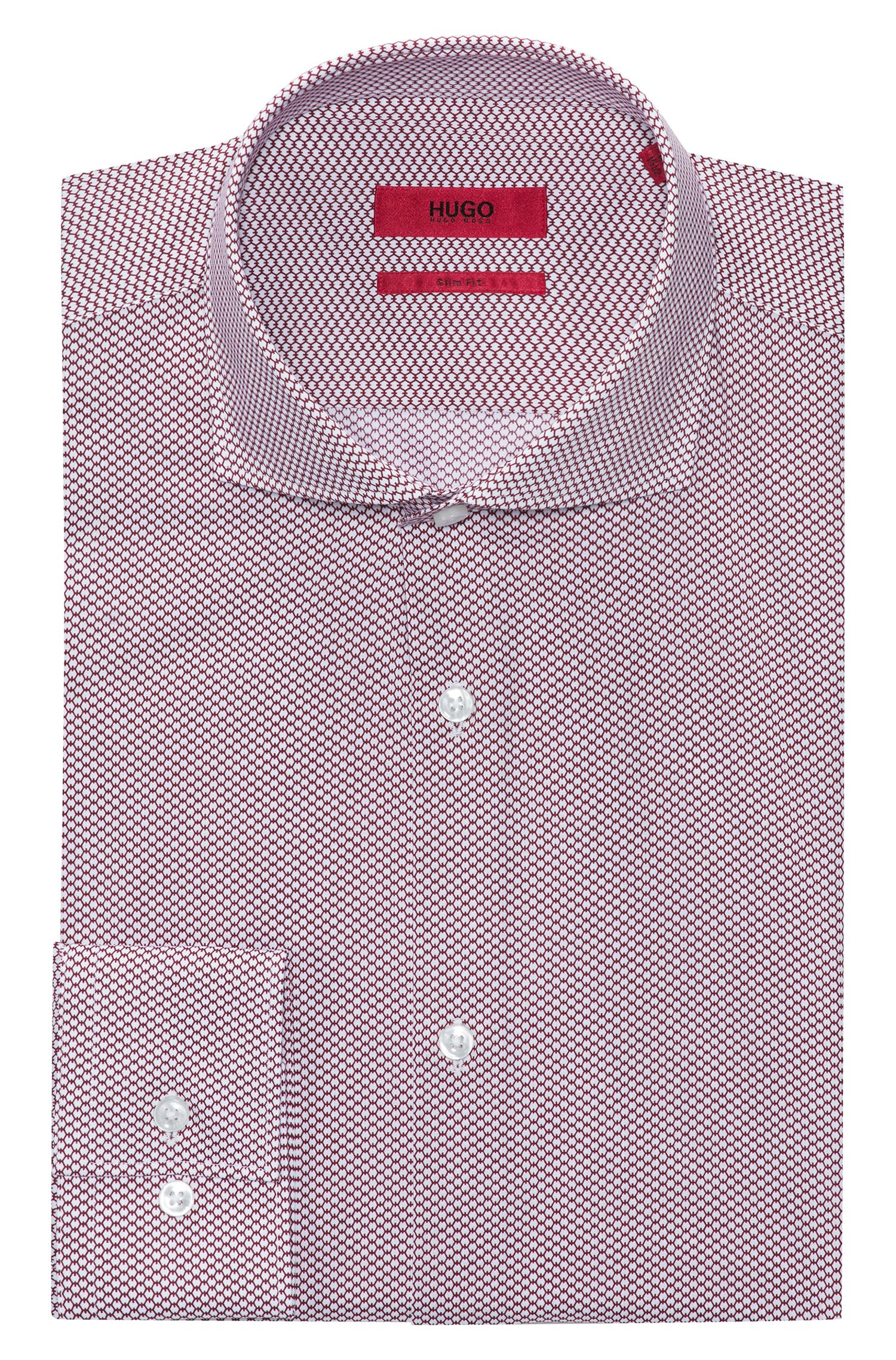 Micro-patterned cotton shirt in a slim fit