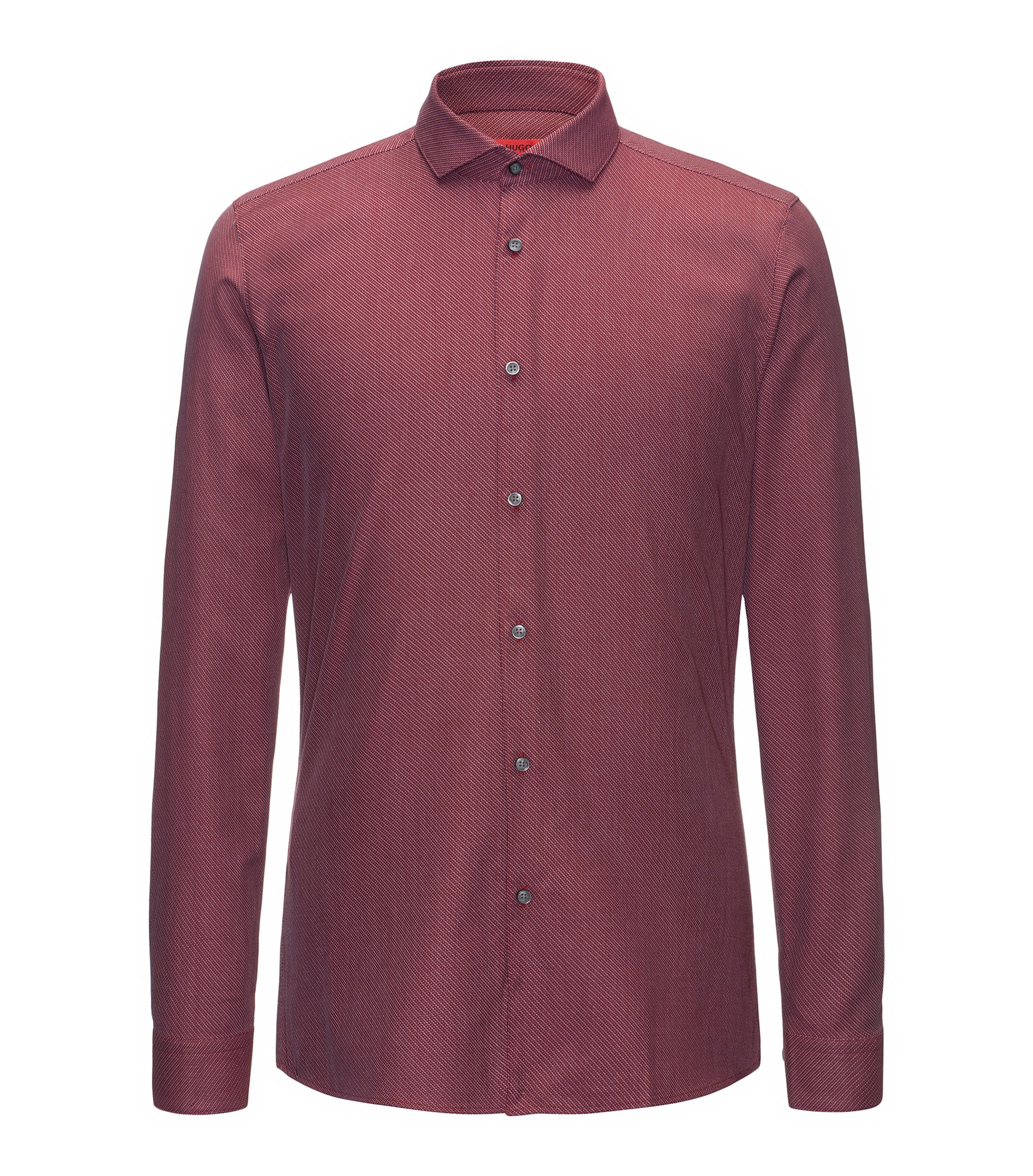 Extra-slim-fit cotton canvas shirt with zigzag diagonal stripes, Dark Red