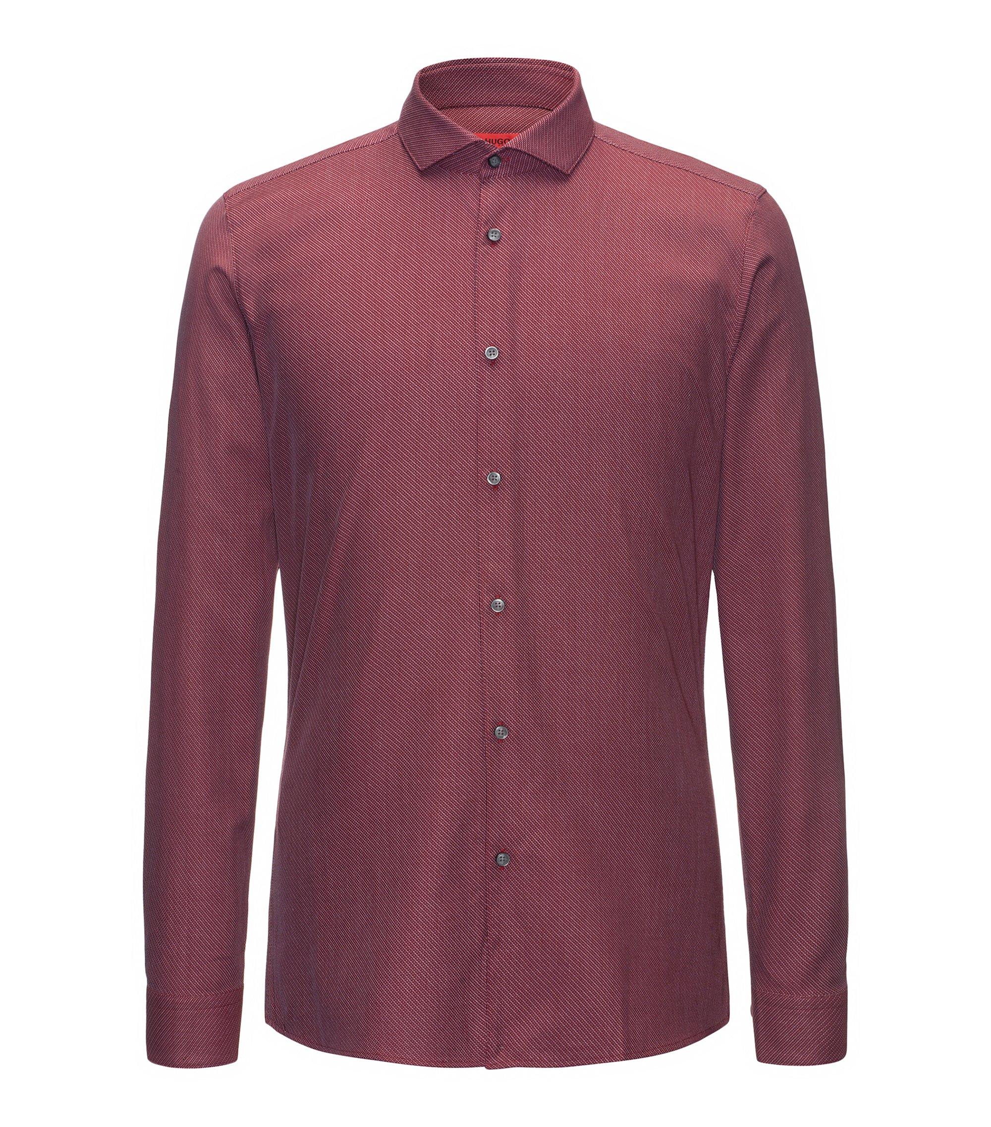 Extra Slim-Fit Hemd aus Baumwolle mit diagonalem Streifen-Muster, Dunkelrot