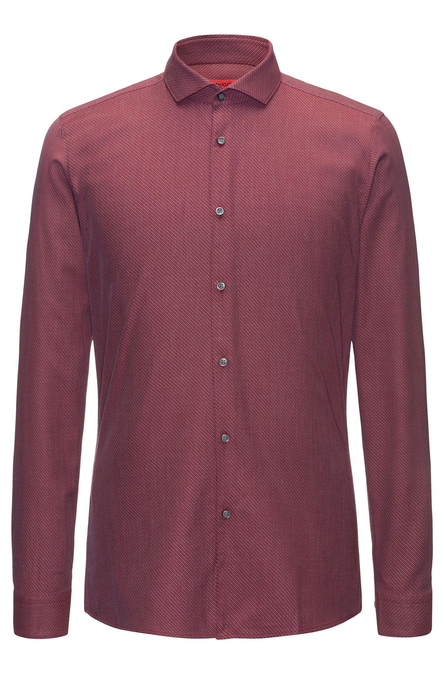 Extra slim-fit overhemd van katoencanvas met diagonale zigzagstrepen