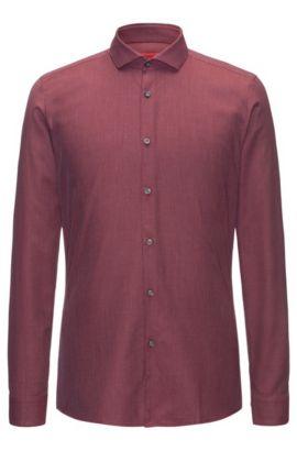 Chemise Extra Slim Fit en toile de coton à rayures diagonales en zigzag, Rouge sombre