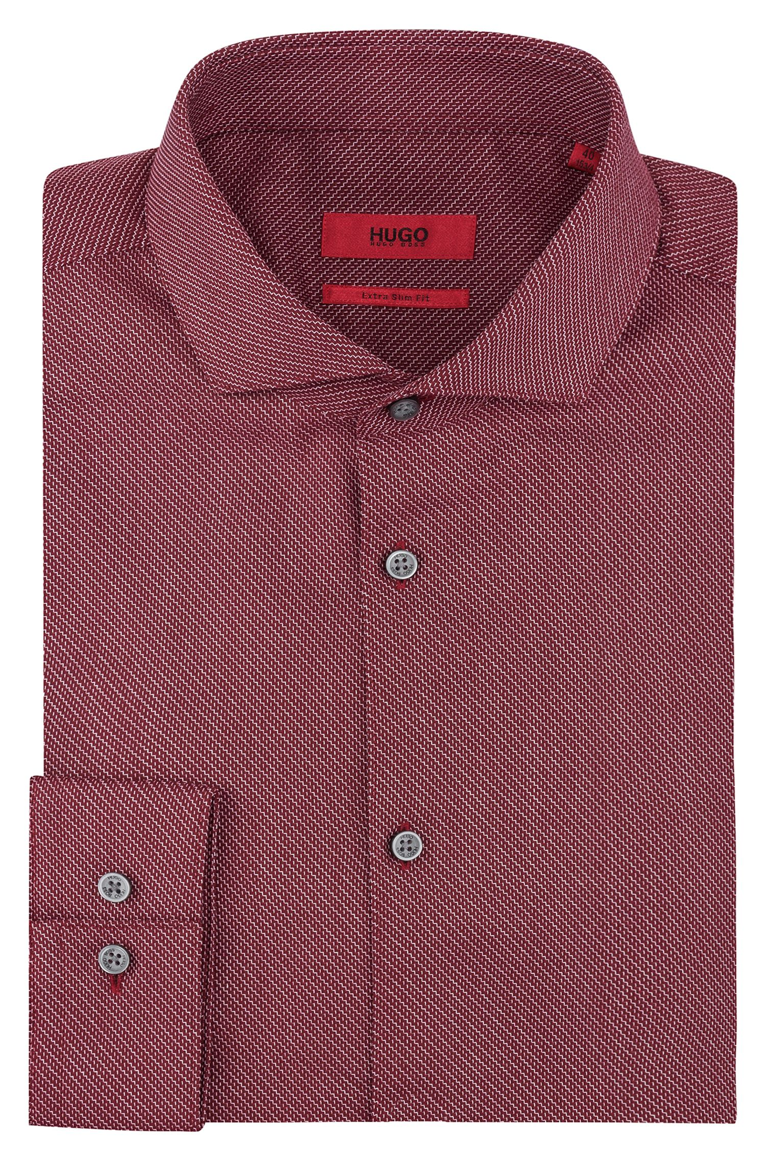 Extra-slim-fit cotton canvas shirt with zigzag diagonal stripes