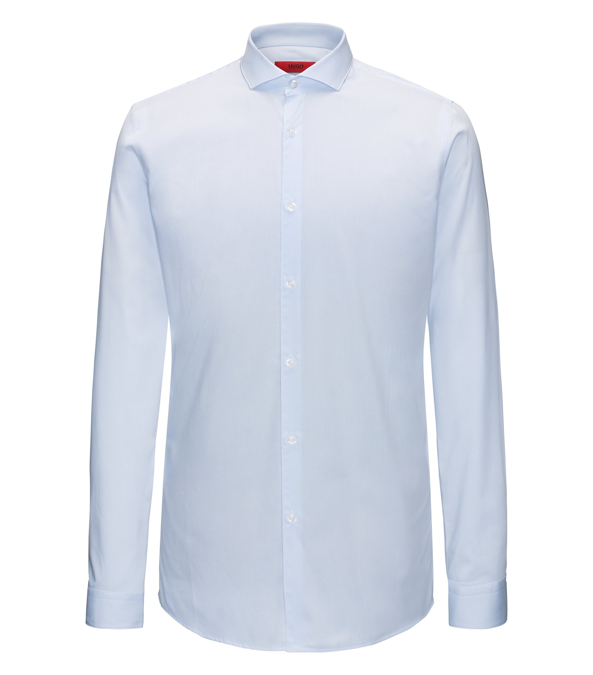 Camicia extra slim fit in cotone a righe, Celeste