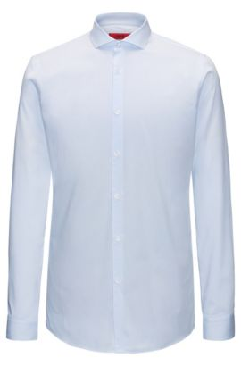 Extra-slim-fit shirt in striped cotton, Light Blue