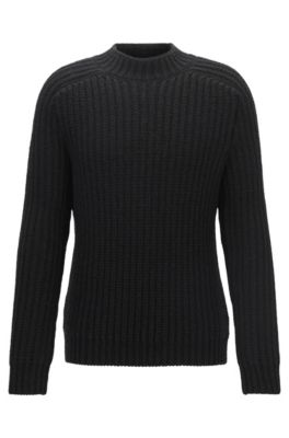 Grobgestrickter Pullover aus Schurwoll-Mix mit Alpakawolle, Schwarz