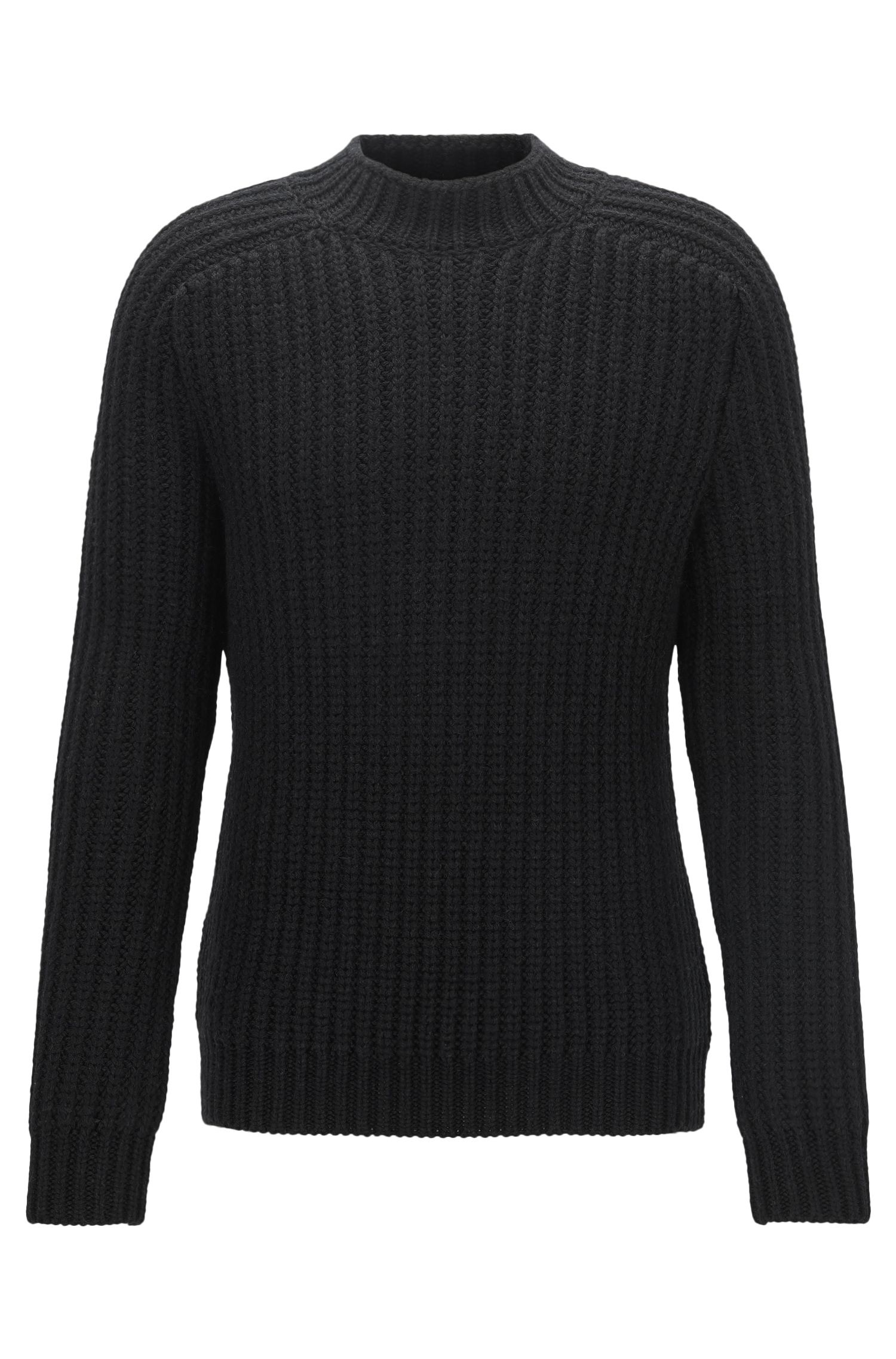 Wide-neck heavy-knit ribbed jumper in a wool blend