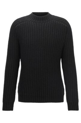 Wide-neck heavy-knit ribbed jumper in a wool blend, Black