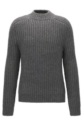 Wide-neck heavy-knit ribbed jumper in a wool blend, Grey