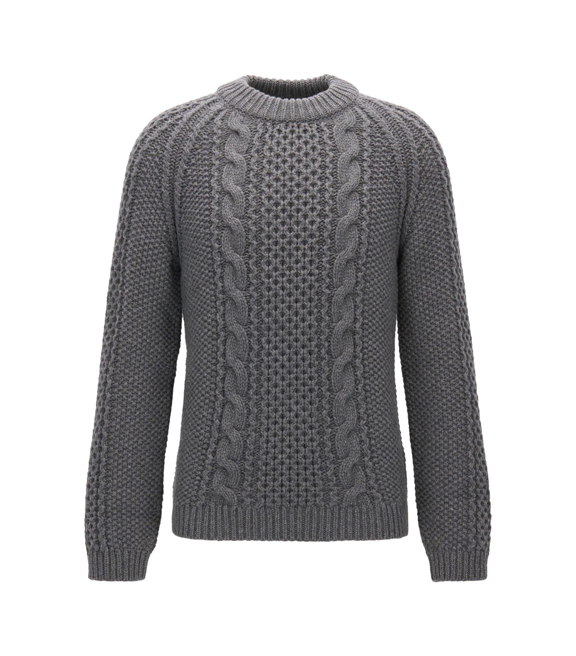 Moderne trui van een kasjmiermix met kabelpatroon, Grijs