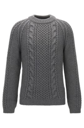 Modern cable-knit sweater in a cashmere blend, Grey
